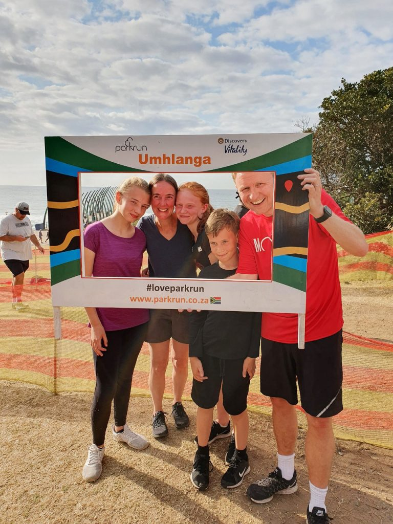 FEATURED IMAGE:  Visitors from London, join the Umhlanga parkrun at an event in August.
