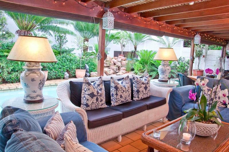 PLEASANT: The poolside patio at Manaar House.